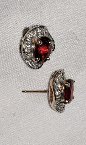Genuine Garnet and Diamond chips, 14k Gold Earrings for Sale in Pasadena, MD