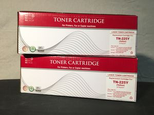 2 Brother laser printer YELLOW toner cartridges TN-225Y for Sale in Los Angeles, CA