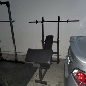 Adjustable Weight Bench With Dip Station And Preacher Curl Attachment And Standard Bar for Sale in Issaquah, WA