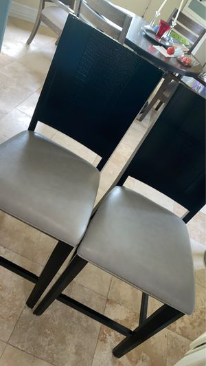 Grey and black barstools or kitchen table chairs. Set of 2 for Sale in Orlando, FL