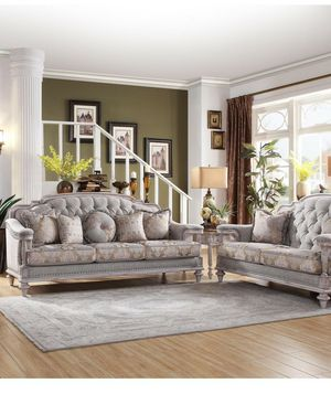 🍻$39 Down Payment 💥 Amancio Antique White Living Room Set for Sale in Jessup, MD