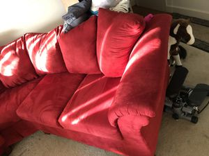 Red velvet curve couch 3 months old for Sale in Oxon Hill, MD