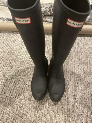Hunter black matte tall rain boots women size 10 for Sale in Kirkland, WA