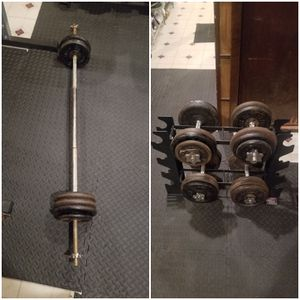 Adjustable dumbbells and rack and bar with weights for Sale in Queens, NY