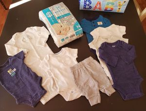 Newborn Baby boy clothes Lot & Brand New Honest newborn diapers for Sale in Concord, CA