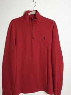 Polo Ralph Lauren Red Estate Rib 1/4 Zip Sweater Multi Color Pony Mens Large Gently used for Sale in Rock Cave,  WV