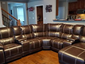 Brown Reclining Leather Sectional with Chaise for Sale in Atlanta,  GA