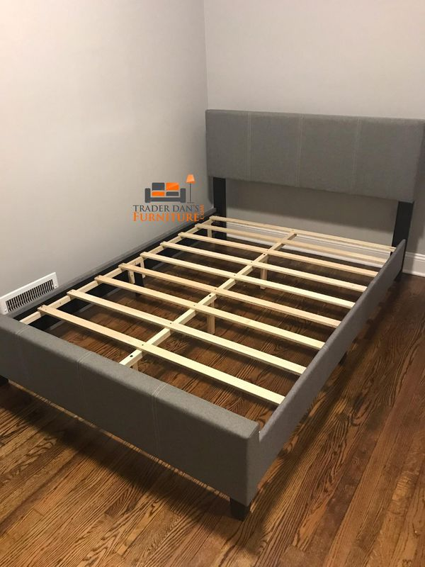Brand New Queen Size Grey Upholstered Platform Bed Frame