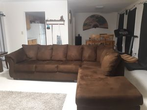 Chocolate sectional for Sale in Monroe, NC