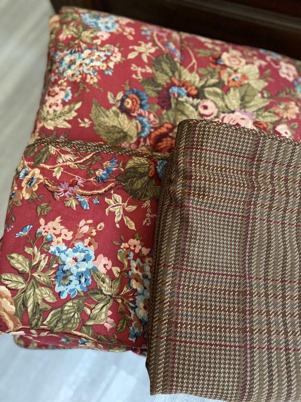 Ralph Lauren CHAPS King Comforter 2 King Shams Summerton Red Floral Brown Houndstooth Plaid