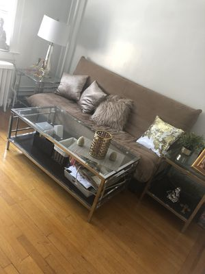 Living room glass/chrome coffee table and side tables for Sale in Edgewater, NJ