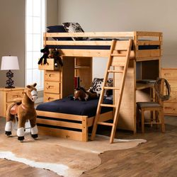 Study And Sleep Jerome's Twin Loft Bed With Storage And Desk. No Mattress Or Chair Included for Sale in San Diego,  CA
