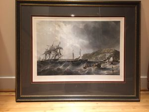"""""""Off Portland"""" etching by Charles Mottram (British, 1807 - 1876) after a painting by J.W. Carmichael."""" for Sale in Kensington, MD"""