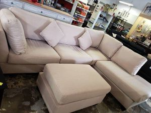 Brand New Sand Linen Sectional Sofa Couch + Ottoman for Sale in Arlington, VA