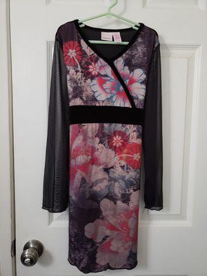 Girl's black see thru arms flower print dress sz 10/12 for Sale in Irvine, CA