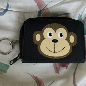Kids Monkey Black Bifold Wallet Snap Button Zip Around Coin Pocket Key Ring for Sale in Centreville, VA