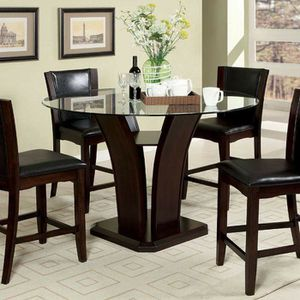 CONTEMPORARY ROUND GLASS COUNTER HEIGHT 5 PIECE DINING TABLE SET Dark Cherry Finish for Sale in Riverside, CA