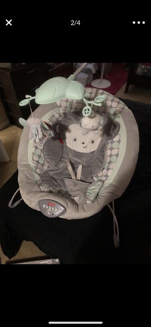 New and used baby swing, 2 bouncer and a portable bassinet for Sale in Landover, MD