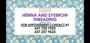 Henna tatoo snd designs, threwding for face and eyebrows for Sale in Garden Grove, CA