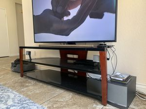 Wood glass tv stand for Sale in Upland, CA