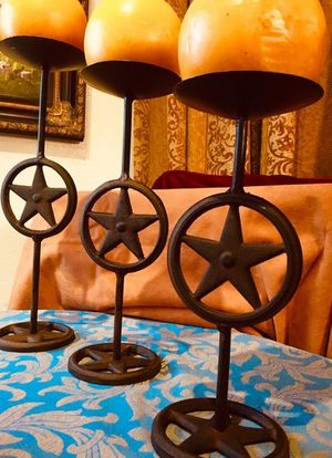 Beautiful set of 3 Texas Star cast iron candle holders; H13.5/12/10 x W4 inch for Sale in Chandler, AZ