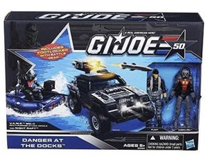 G.I. Joe 50th Anniversary Danger at the Docks Toys R Us Exclusive with Cobra Night Raft, VAMP Mark II Attack Vehicle (Grey & Black Camo Version), Fli for Sale in San Diego, CA