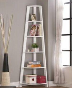 "New!! Bookcase, bookshelves, organizer, storage unit , shelving display, living room furniture, corner bookcase, 72""H, white for Sale in Phoenix, AZ"