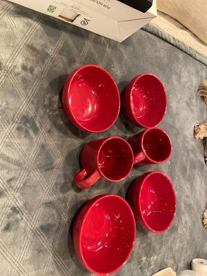 KITCHEN BOWLS AND STACKABLE MUGS (Set of 4 bowels and 4 mugs) never used were in a kitchen glass cabinet for color) for Sale in Whittier, CA