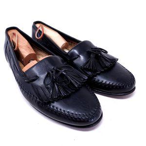 Santoni Men's Dress Shoes Black Leather Tasseled Kiltie Boat Loafers Italy Size 10.5 for Sale in Huntington Beach, CA