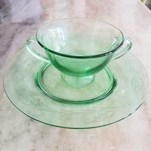 Vintage Green Glass Sugar Bowl and Plate for Sale in Naples, FL