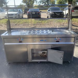 Thai fried ice cream roll maker machine for fruit, ice, milk, yogurt with control panel double pan and topping containers 110volts for Sale in Orlando, FL