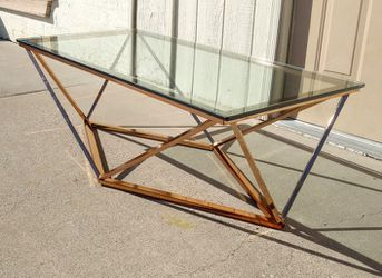 Stunning Edloe Finch Aria Rose Gold Geometric Coffee Table w/ Thick Glass Top for Sale in Glendale,  AZ