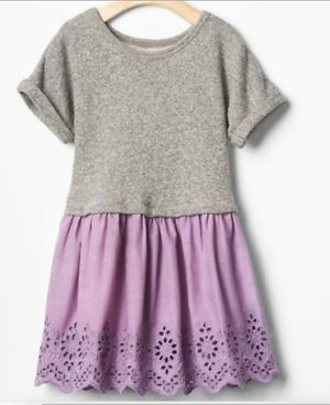 Gap Toddler Dress 5T 5 Eyelet Mix Fabric Sweatshirt Charcoal Gray Purple for Sale in Bloomingdale, IL