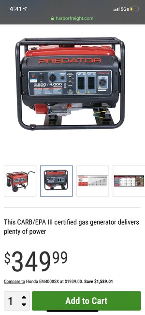 Electric Generator (unleaded gas engine) for Sale in West Covina, CA