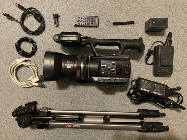 Panasonic AG-AC90 Full HD camera with tripod and accessories