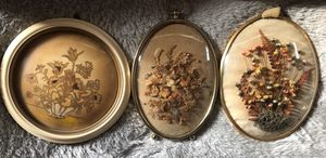 Convex Glass Art. Lot of 3. Italian lacquer painting. 2 natural floral for Sale in Cynthiana, KY