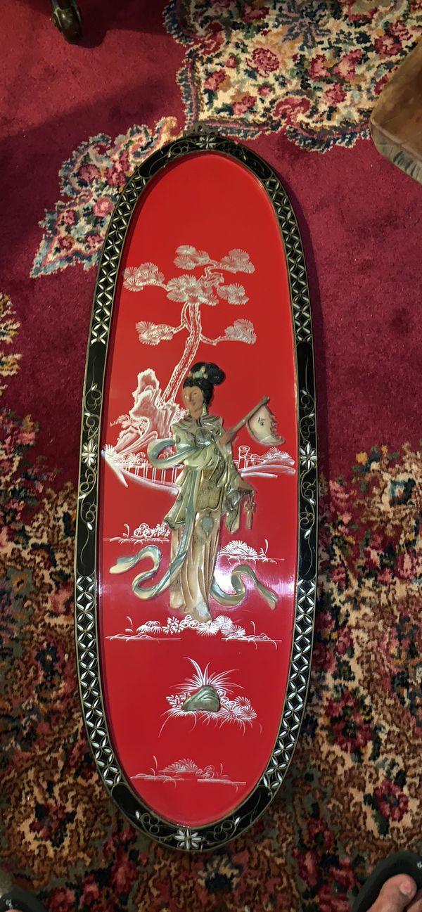 Vintage oriental wall art panel