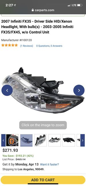 2007 Infiniti FX35 - Driver Side HID/Xenon Headlight, With bulb(s) - 2003-2005 Infiniti FX35/FX45, w/o Control Unit for Sale in Kapolei, HI