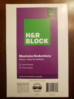 2020 H&R Block Deluxe + State tax software for Sale in Peoria, AZ