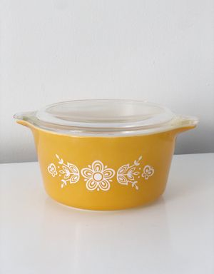 Vintage MCM Mid Century Boho Golden Butterfly Pyrex Casserole Dish w/ Lid for Sale in Escondido, CA