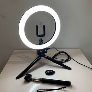 """$25 (new in box) led 8"""" ring light dimmable tripod stand phone holder with bluetooth camera remote for Sale in Santa Fe Springs, CA"""