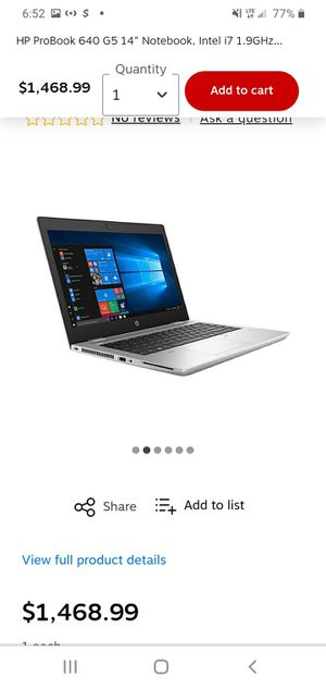 "HP ProBook 640 G5 14"" Notebook, Intel i7 1.9GHz Processor, 8GB Memory, 256GB SSD, Windows 10 Pro for Sale in Yeadon, PA"