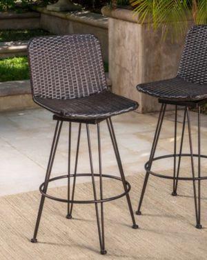 New!! Barstool, outdoor metal legs cooper finish wicker barstool , outdoor bar stool, conversation 2 pc set, backyard furniture for Sale in Phoenix, AZ