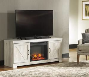 Bellaby Whitewash LG TV Stand with Fireplace Insert | W331-68