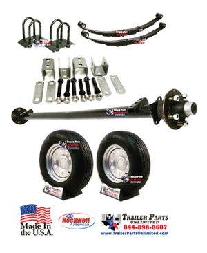 "3.5k Idler Trailer Axle Kit w/ 15"" 10Ply Trailer Tires and Silver Mod Trailer Wheels 5 lug for Sale in Huntsville, TX"