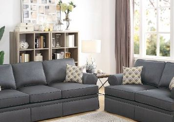 New Charcoal 2 pc Sofa and Love Seat for Sale in Sloan,  NV