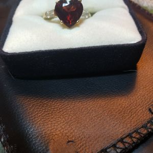 14kt Garnet Faceted Heart Shaped Ring With White Topaz Bagette On Sides for Sale in Gig Harbor, WA