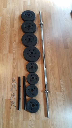 5 foot standard weight lifting barbell 2x handles 4x7.5lbs 4x2.5lbs for Sale in Montebello, CA