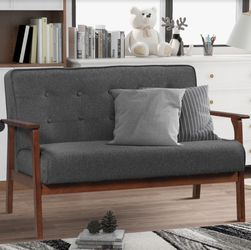 Sarah Modern Solid Loveseat Sofa Linen Blend 2-Seat Couch (Grey) for Sale in San Diego,  CA