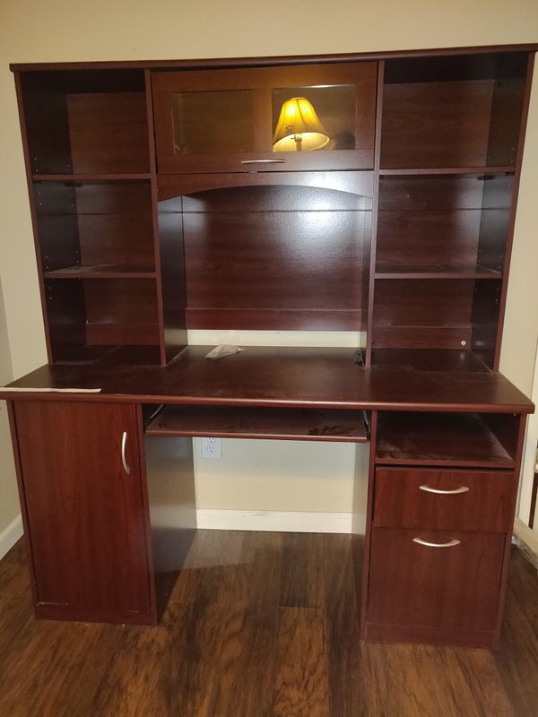 Cherry wood computer desk / table with shelf stand